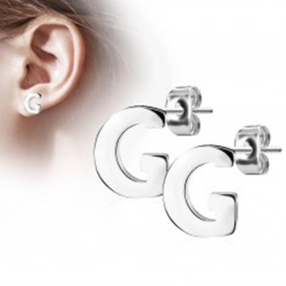 Šperky eshop Náušnice z chirurgickej ocele - veľké tlačené písmenko G, strieborná farba