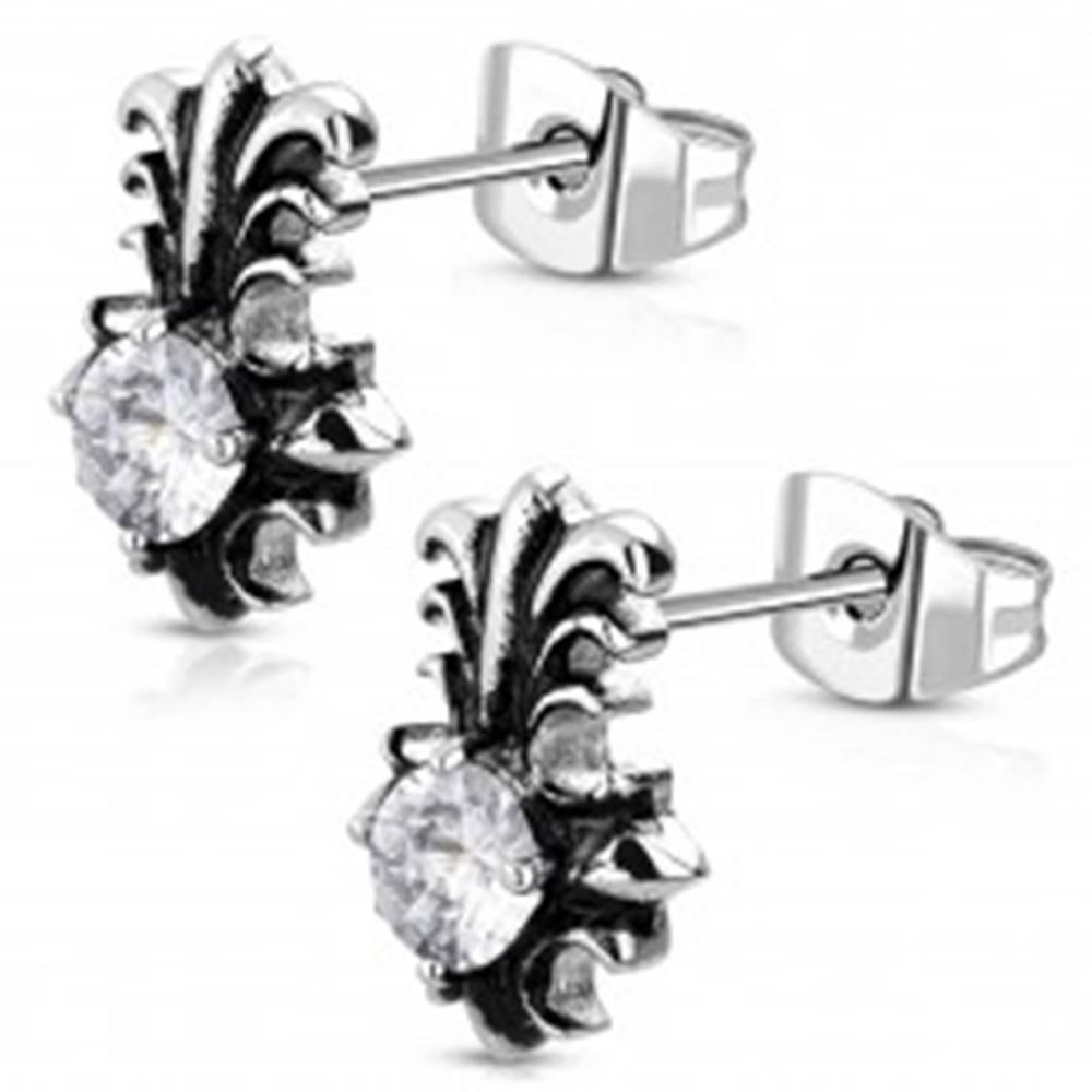 Šperky eshop Náušnice z ocele 316L - patinovaný ľaliový kríž s okrúhlym čírym zirkónom