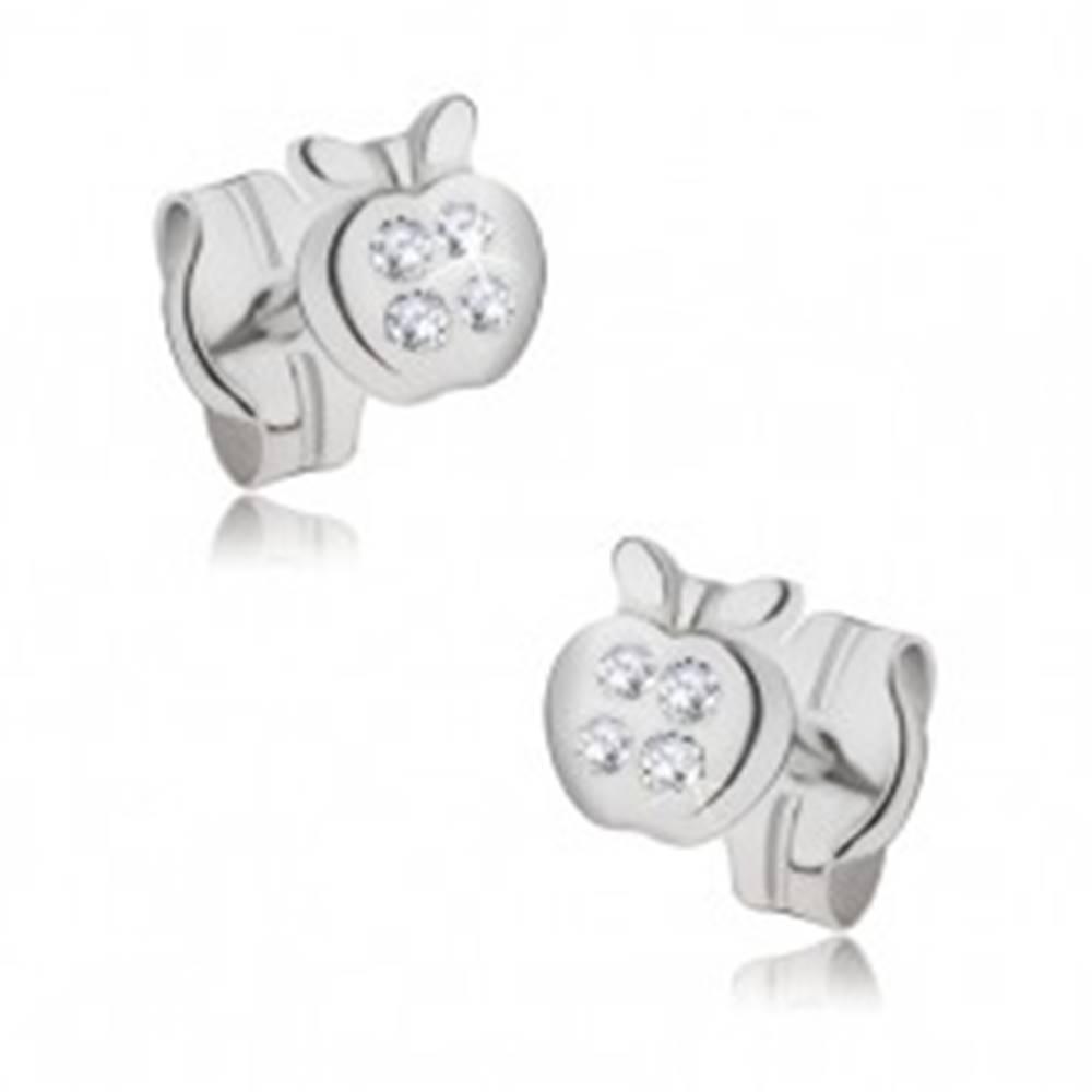 Šperky eshop Náušnice zo 14K zlata - malé zrkadlovolesklé jabĺčko, zirkóny