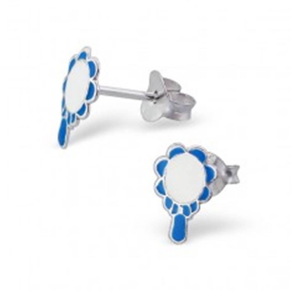 Šperky eshop Náušnice zo striebra 925 - čarovné zrkadlo - Farba: Modrá