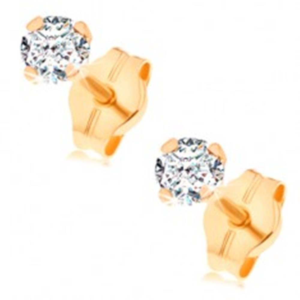 Šperky eshop Náušnice zo žltého 14K zlata - číry okrúhly zirkón v kotlíku, 3 mm