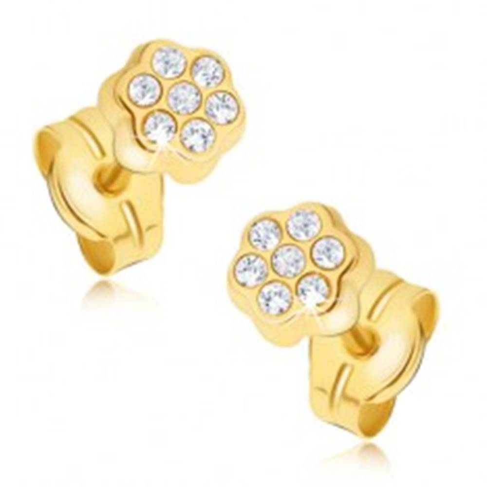Šperky eshop Náušnice zo žltého 14K zlata - drobný zirkónový kvietok