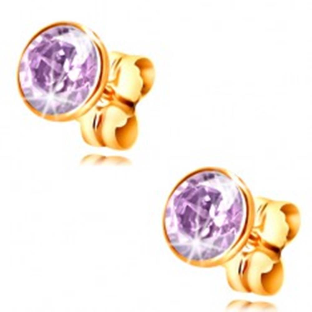 Šperky eshop Náušnice zo žltého zlata 585 - okrúhly svetlofialový zirkón v objímke, 5 mm
