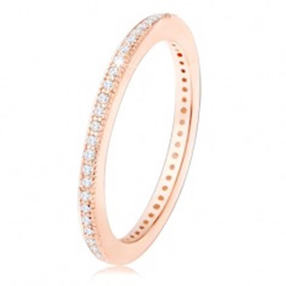 Šperky eshop Obrúčka zo striebra 925, medený odtieň, drobné číre zirkóniky po obvode - Veľkosť: 49 mm