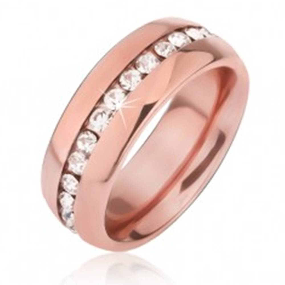 Šperky eshop Oceľová obrúčka medenej farby, výrez s čírymi zirkónmi - Veľkosť: 49 mm