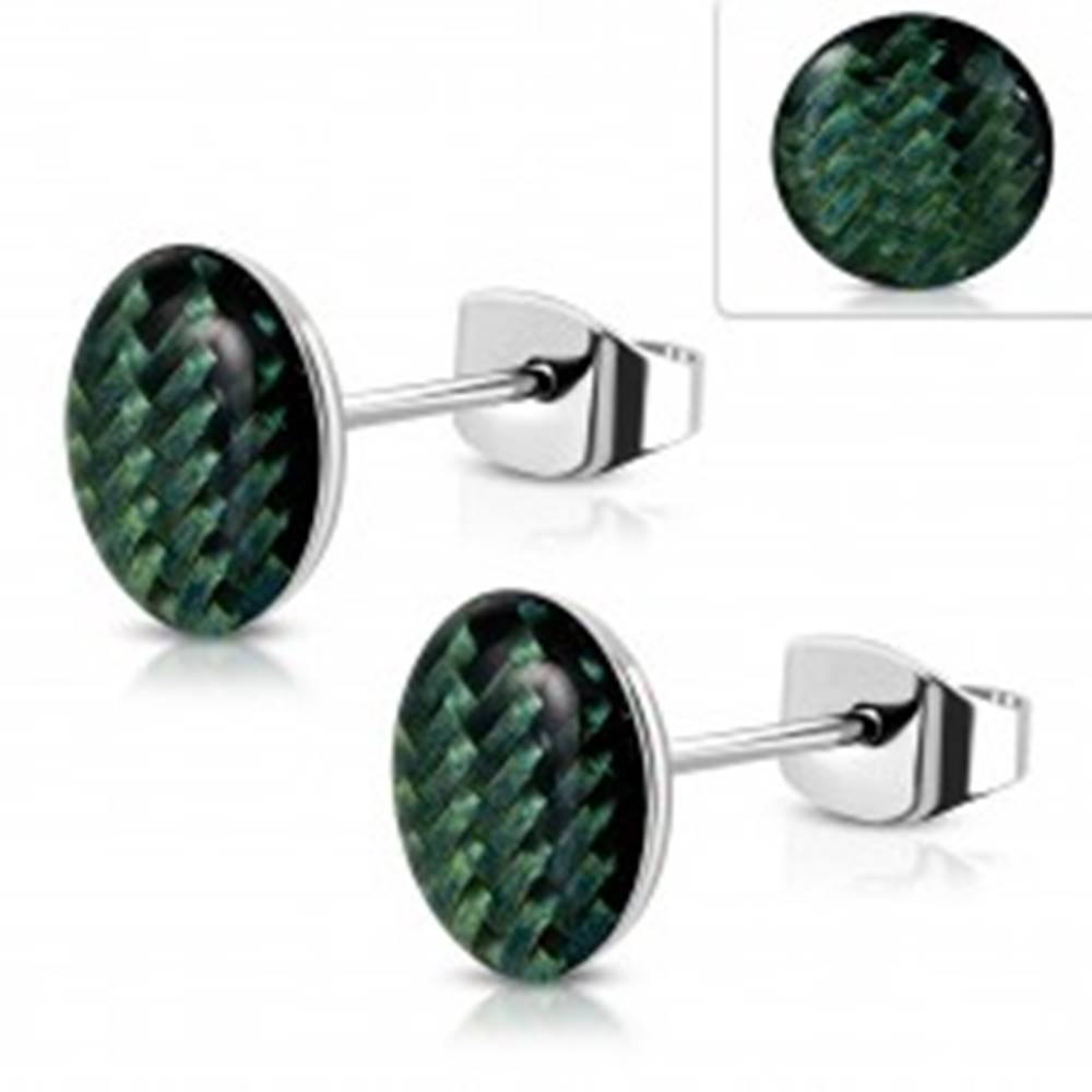 Šperky eshop Oceľové náušnice, akrylový kruh s tmavozeleným výpletom, glazúra