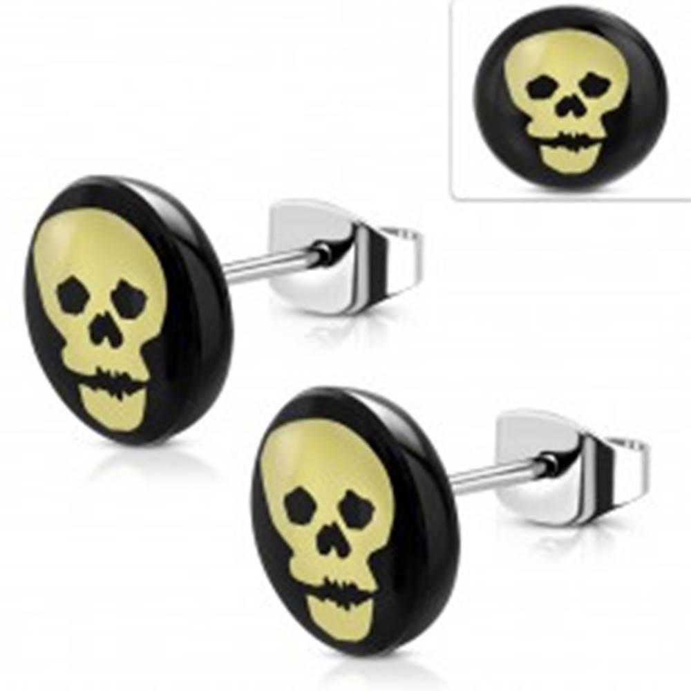 Šperky eshop Oceľové náušnice, čierny kruh so žltou lebkou, puzetky