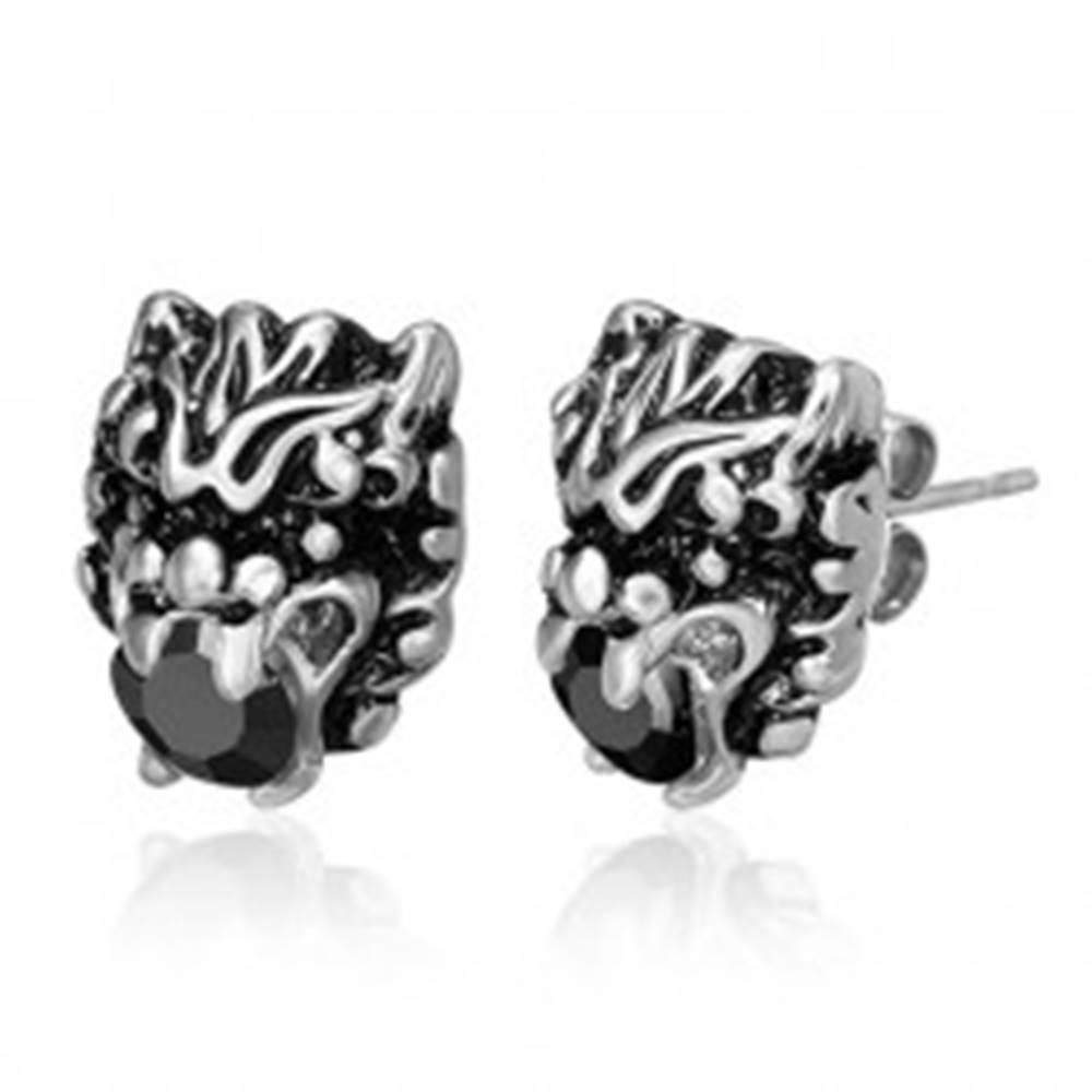 Šperky eshop Oceľové náušnice - čínske znamenie draka, zirkón