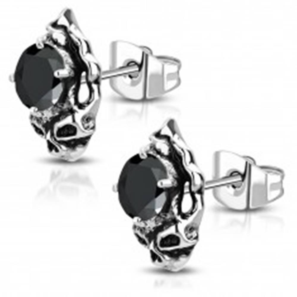 Šperky eshop Oceľové náušnice - patinovaná lebka s čiernym brúseným zirkónom