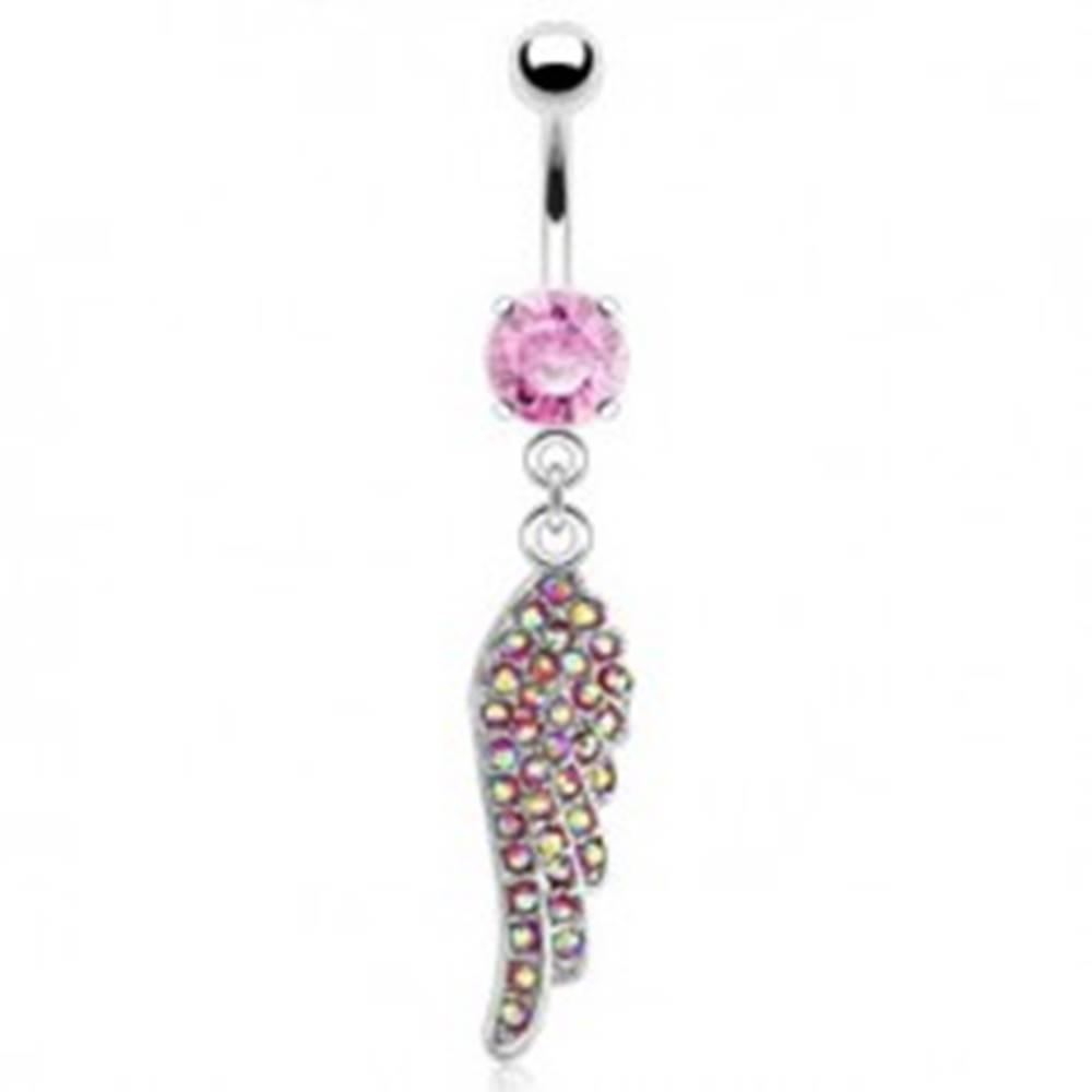 Šperky eshop Oceľový piercing do bruška, anjelské krídlo, ružové zirkóny