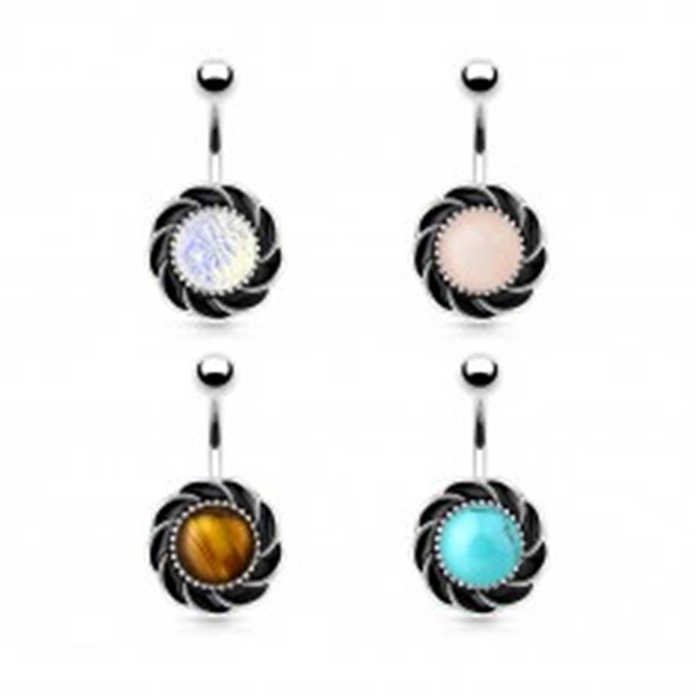 Šperky eshop Oceľový piercing do bruška, kvet s čiernymi lupeňmi a okrúhlym stredom - Farba piercing: Dúhová