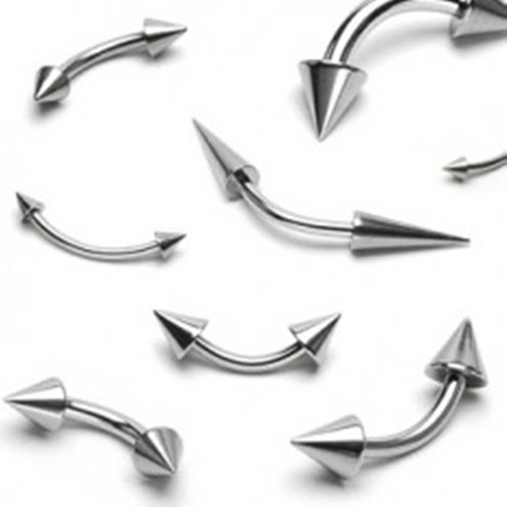 Šperky eshop Oceľový piercing striebornej farby, zahnutá činka ukončená dvoma kužeľmi - Rozmer: 1,6 mm x 10 mm x 4x12 mm
