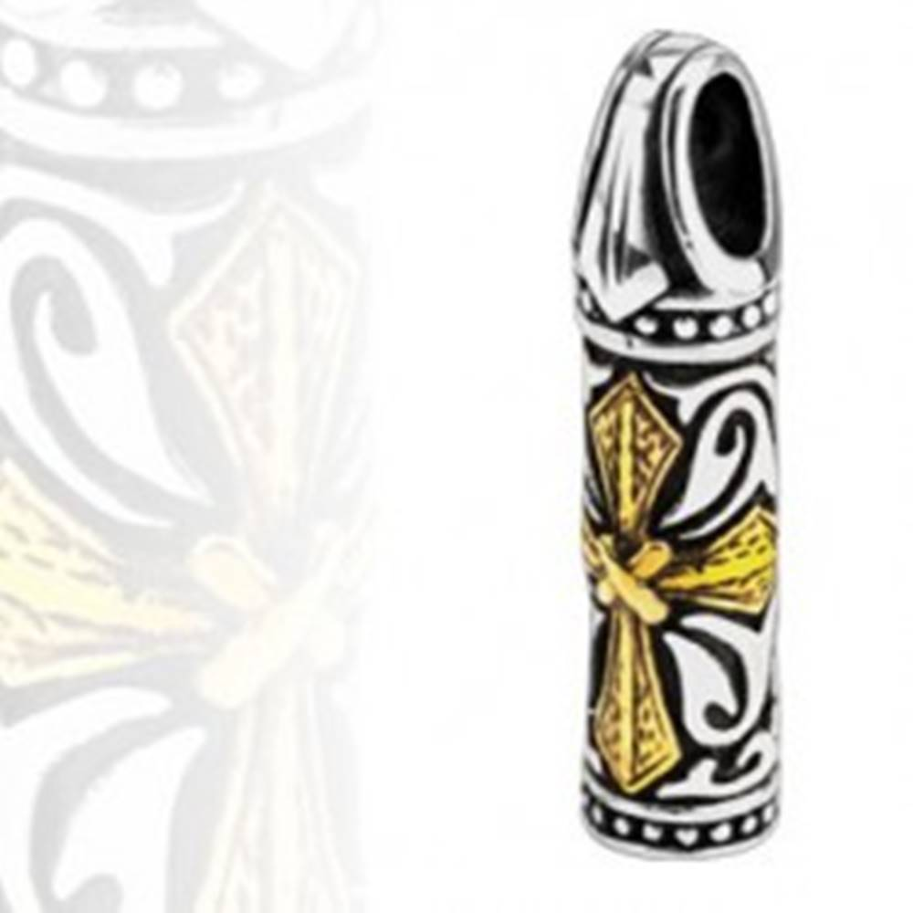 Šperky eshop Oceľový prívesok - trojfarebný valček, kríž