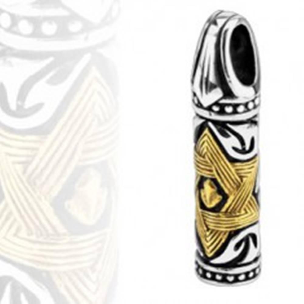 Šperky eshop Oceľový prívesok - valček, Davidova hviezda