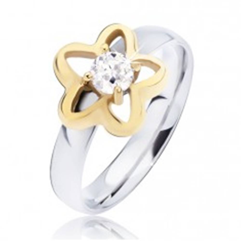 Šperky eshop Oceľový prsteň, obrys hviezdy zlatej farby s čírym okrúhlym zirkónom - Veľkosť: 49 mm