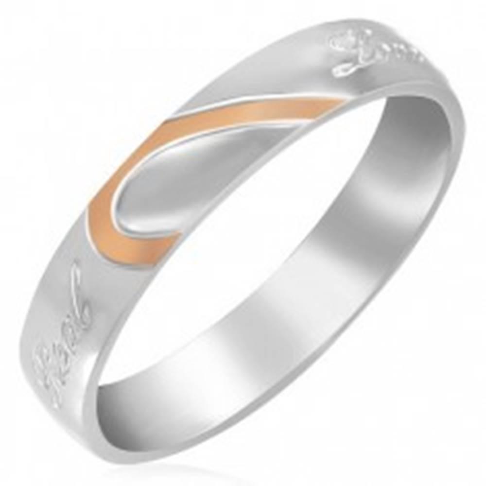 Šperky eshop Oceľový prsteň - polovica srdca, zrkadlový lesk - Veľkosť: 46 mm