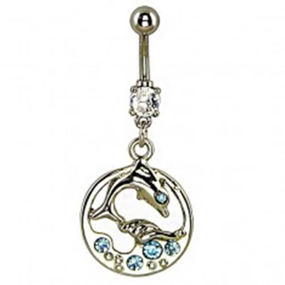 Šperky eshop Piercing do brucha - delfín vo vlnách, modré kamienky