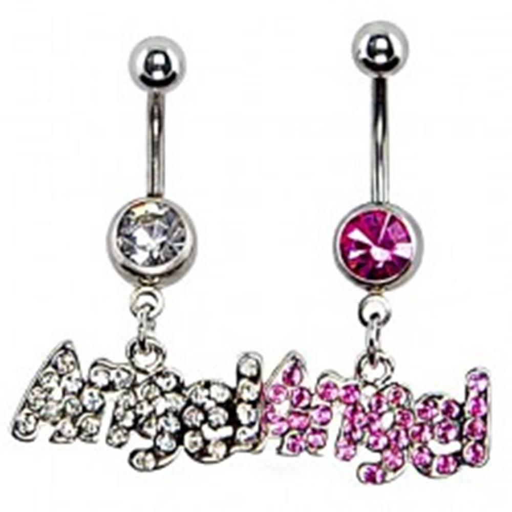 Šperky eshop Piercing do brucha z ocele - ANGEL a zirkóny - Farba: Číra
