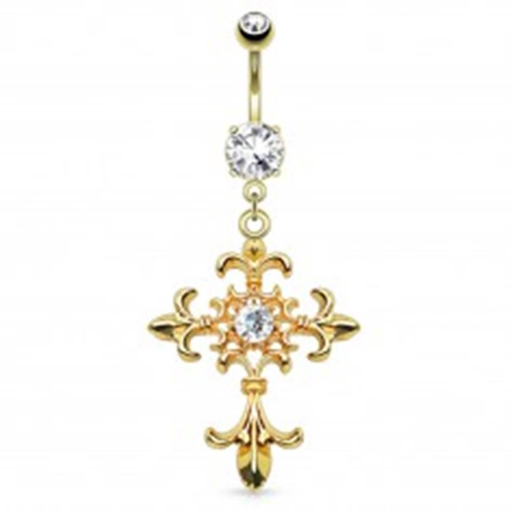 Šperky eshop Piercing do bruška z ocele 316L, zlatá farba, ľaliový kríž, zirkóny