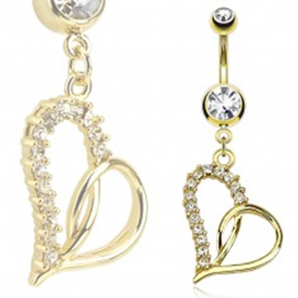 Šperky eshop Piercing do bruška z ocele 316L zlatej farby, obrys nesúmerného srdca, zirkóny