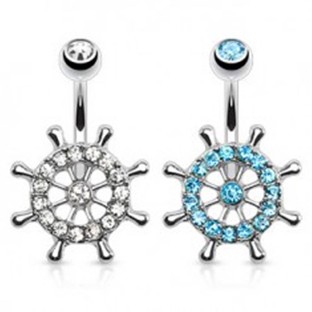 Šperky eshop Piercing do pupka z chirurgickej ocele, lodné kormidlo zdobené zirkónmi - Farba zirkónu: Aqua modrá - Q