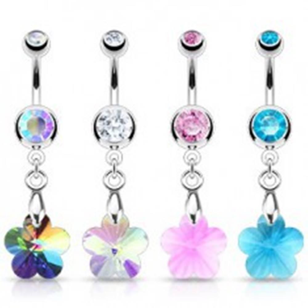 Šperky eshop Piercing do pupka - zirkónový kvietok, rôzne farby - Farba zirkónu: Aqua modrá - Q