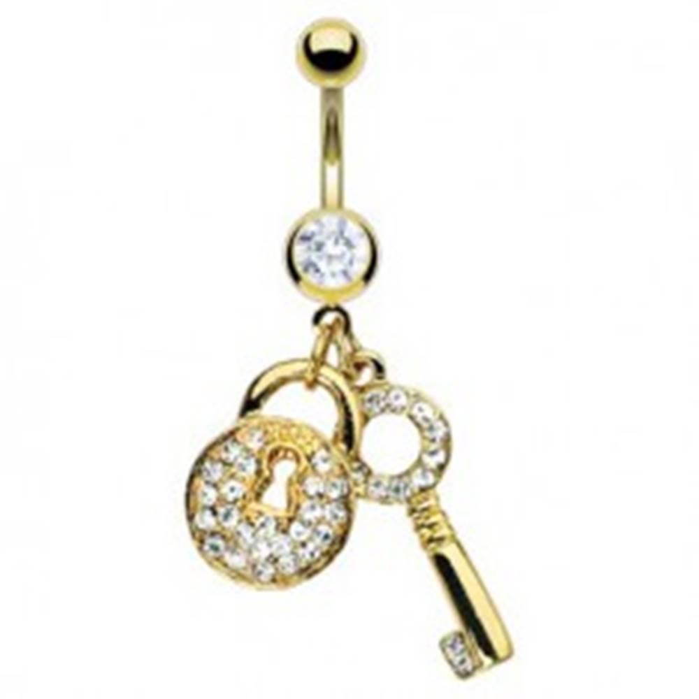 Šperky eshop Piercing do pupka zlatej farby - kľúč a zirkónová kladka