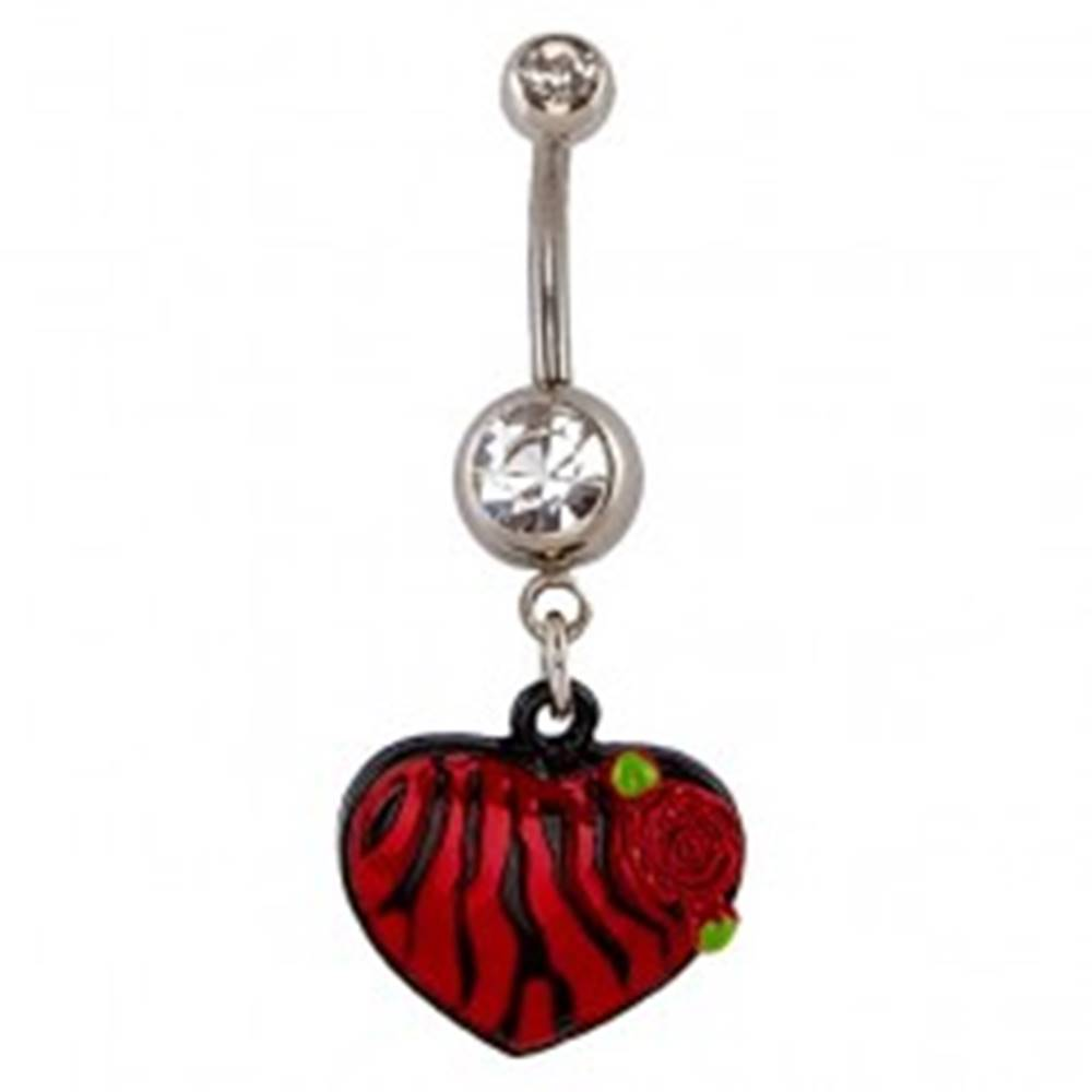 Šperky eshop Piercing do pupku - červenočierne zebrované srdce, ruža