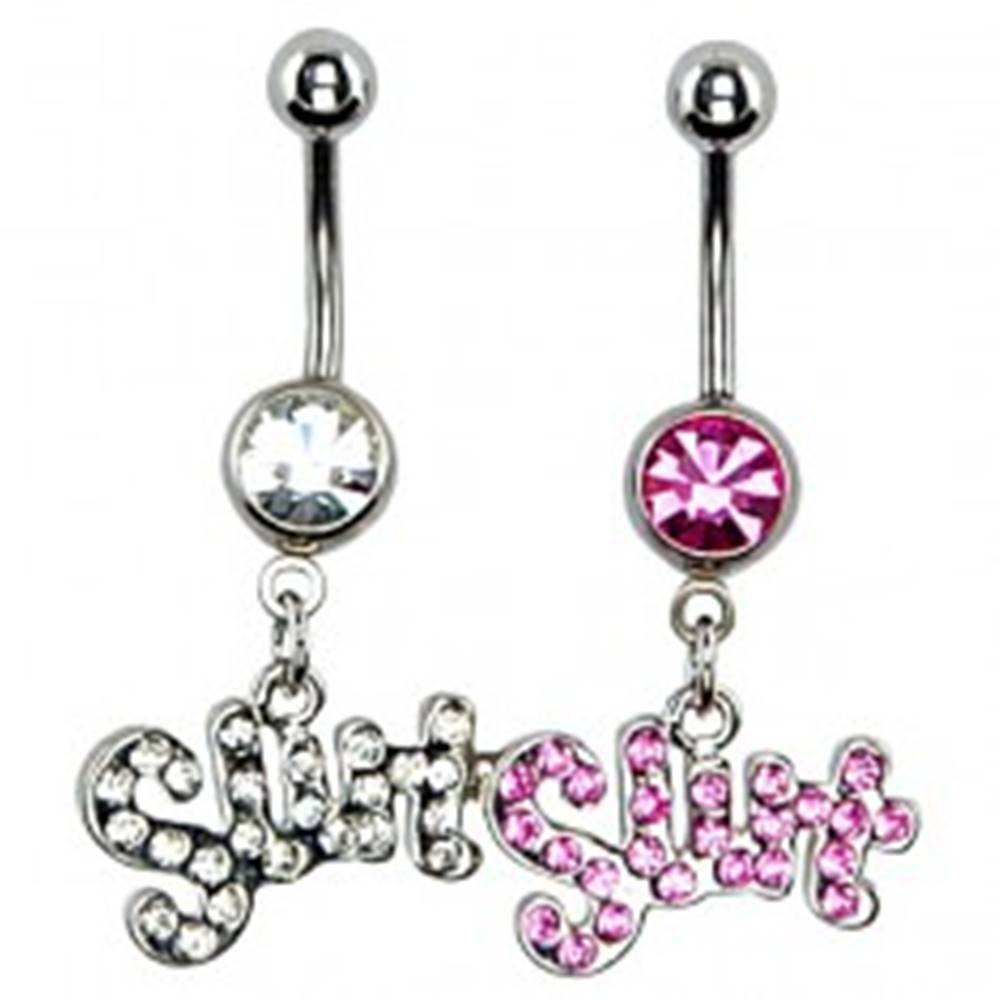 Šperky eshop Piercing do pupku - nápis SWT - Farba: Číra