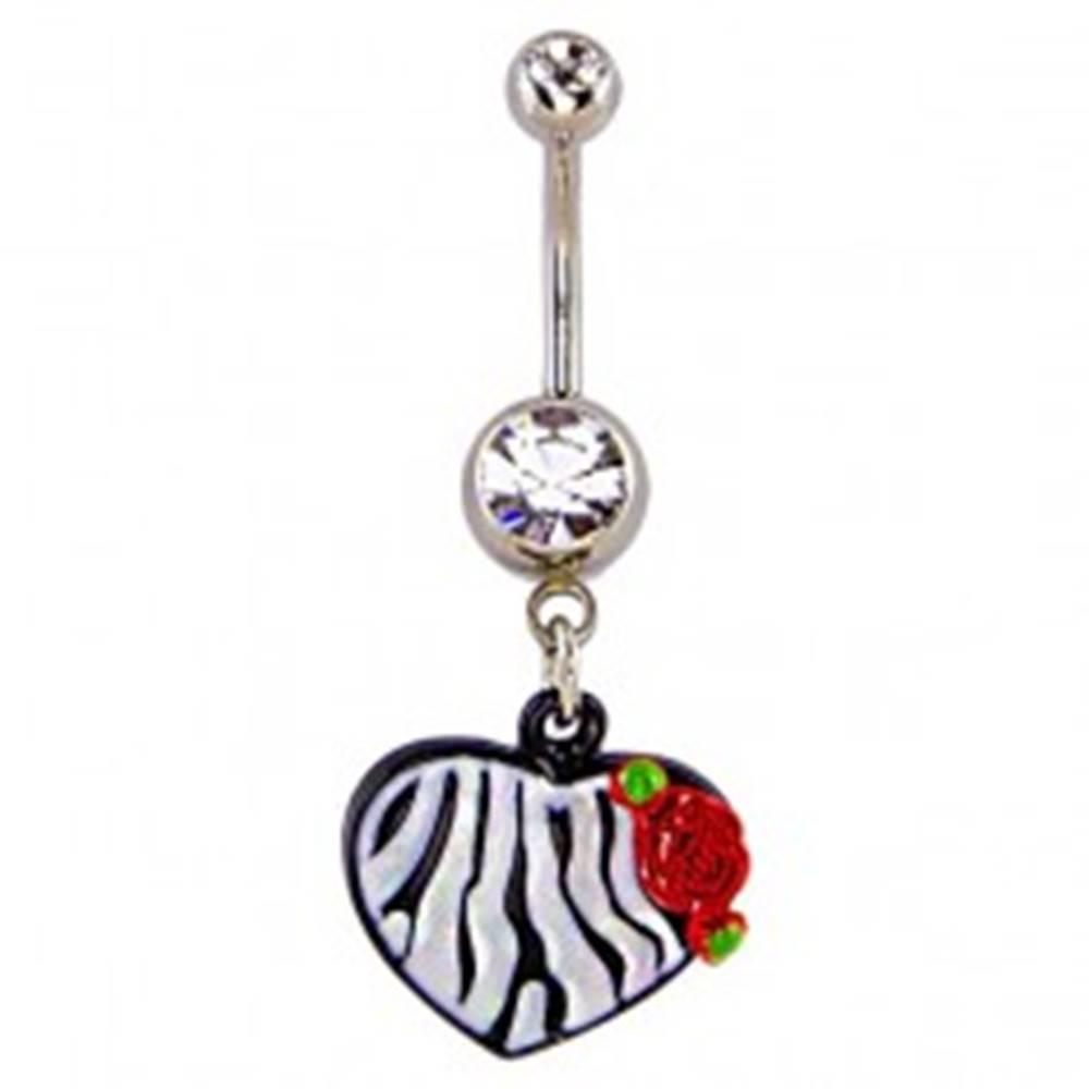Šperky eshop Piercing do pupku - srdce,  vzor čiernobiela zebra a ruža