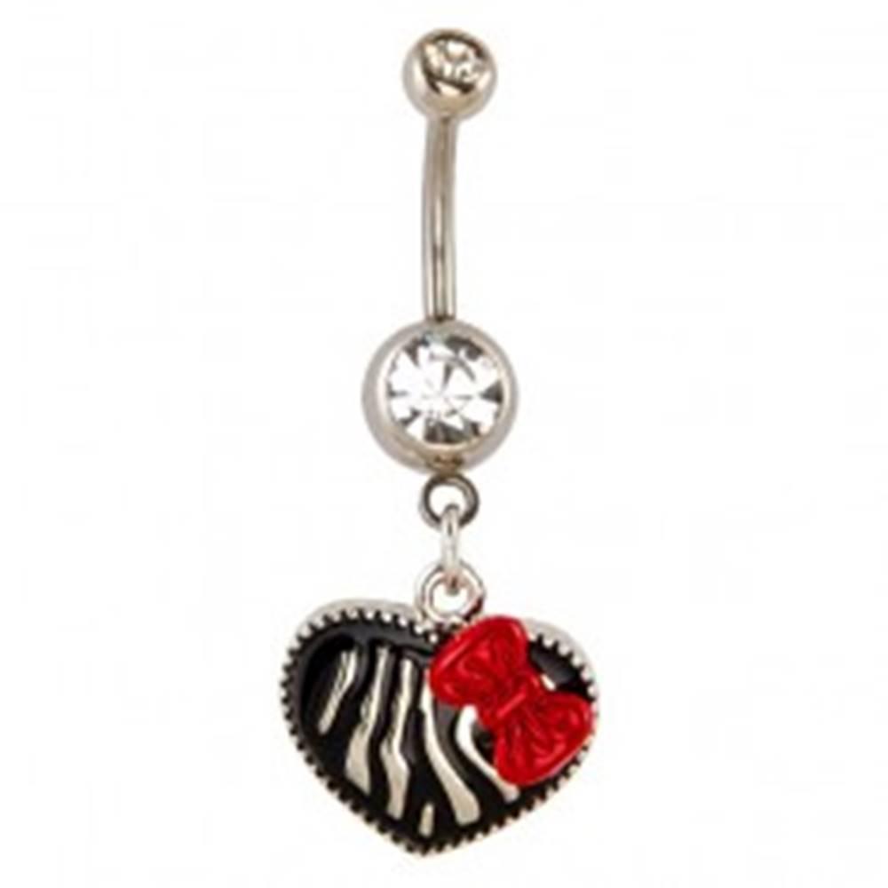 Šperky eshop Piercing do pupku - srdce, vzor zebra a mašľa