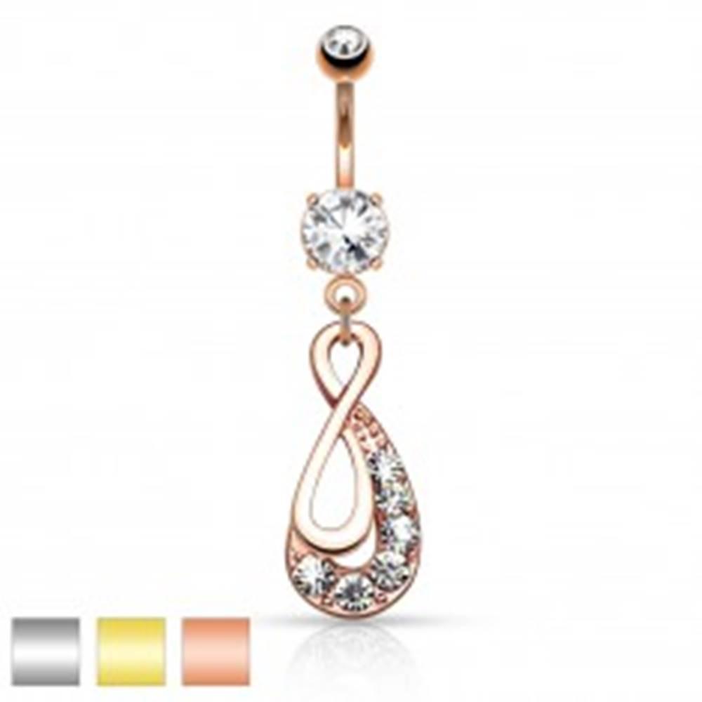 Šperky eshop Piercing do pupku z ocele 316L, symbol INFINITY, číre zirkóny - Farba piercing: Medená