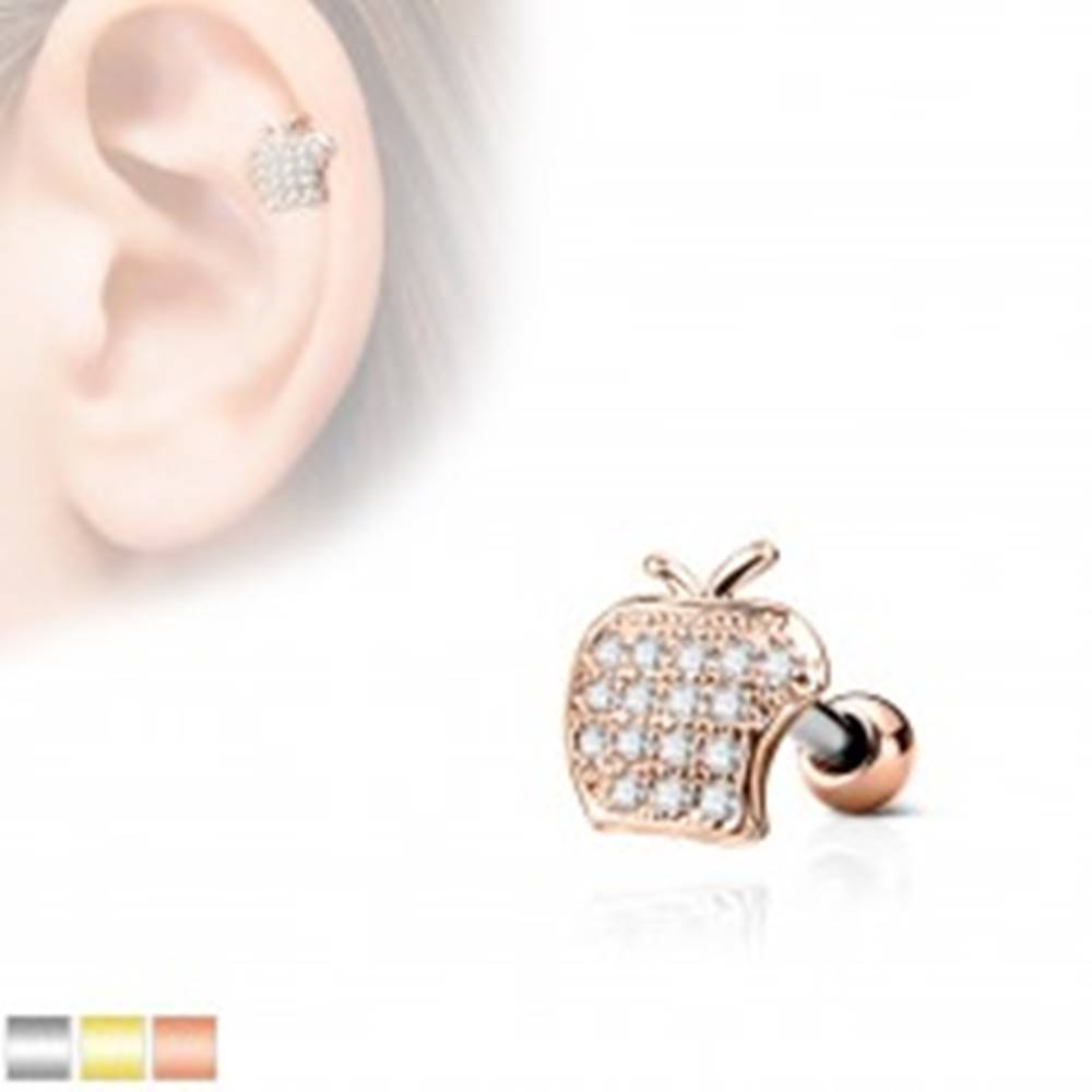 Šperky eshop Piercing do tragusu z chirurgickej ocele, jablko s čírymi zirkónmi - Farba piercing: Medená