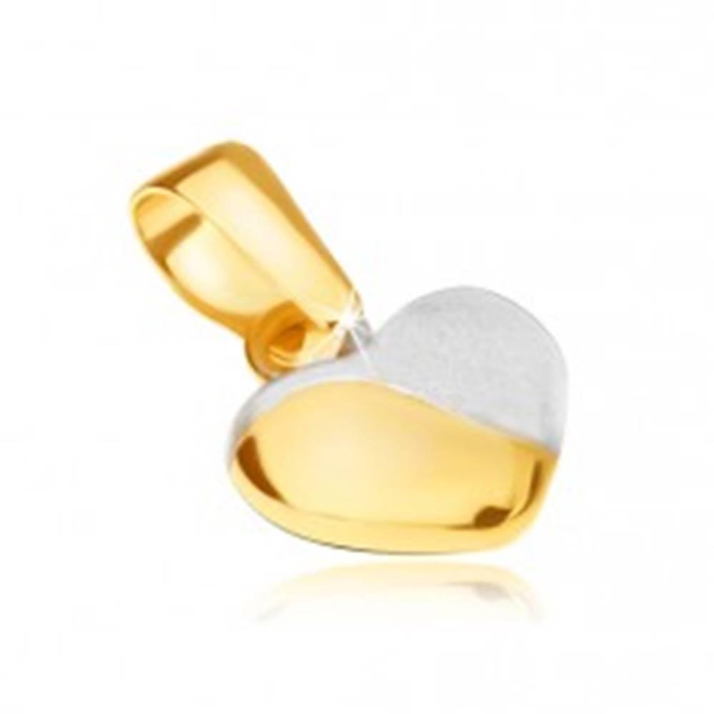 Šperky eshop Prívesok v žltom 14K zlate - pravidelné vypuklé srdiečko, dvojfarebné