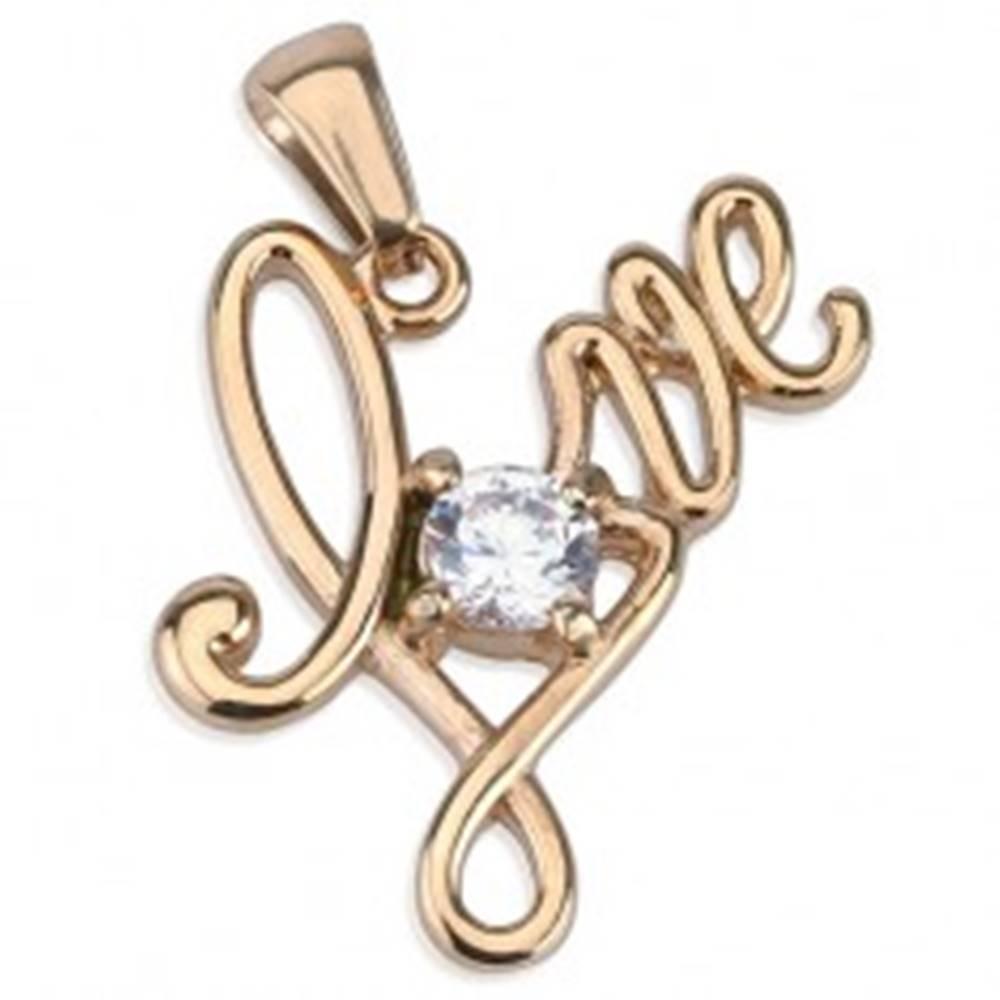 """Šperky eshop Prívesok z chirurgickej ocele, nápis """"Love"""" medenej farby, okrúhly číry zirkón"""