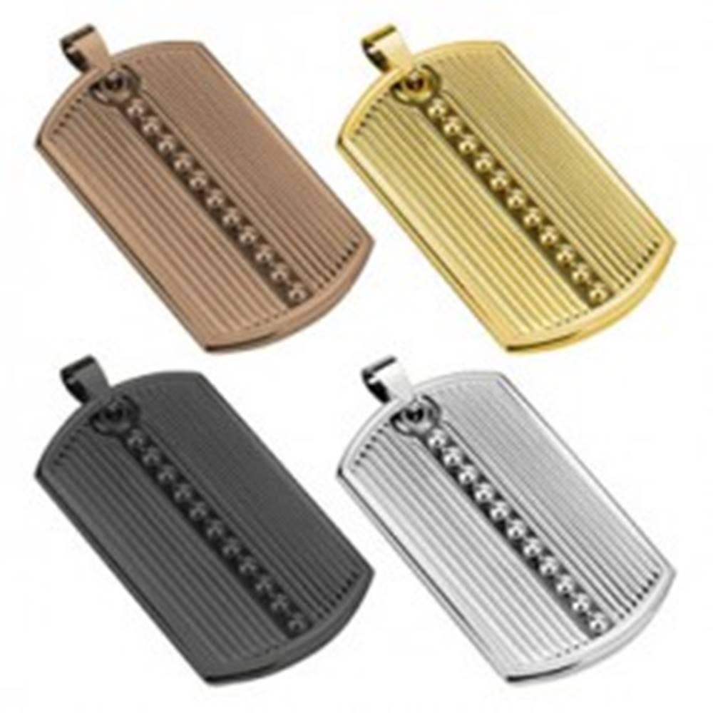 Šperky eshop Prívesok z ocele 316L, podlhovastá známka, zárezy, guličky, rôzne farby - Farba: Čierna
