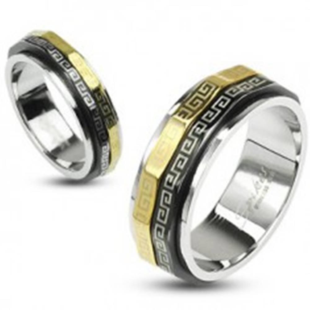 Šperky eshop Prsteň s otáčavými prstencami - chirurgická oceľ - Veľkosť: 48 mm