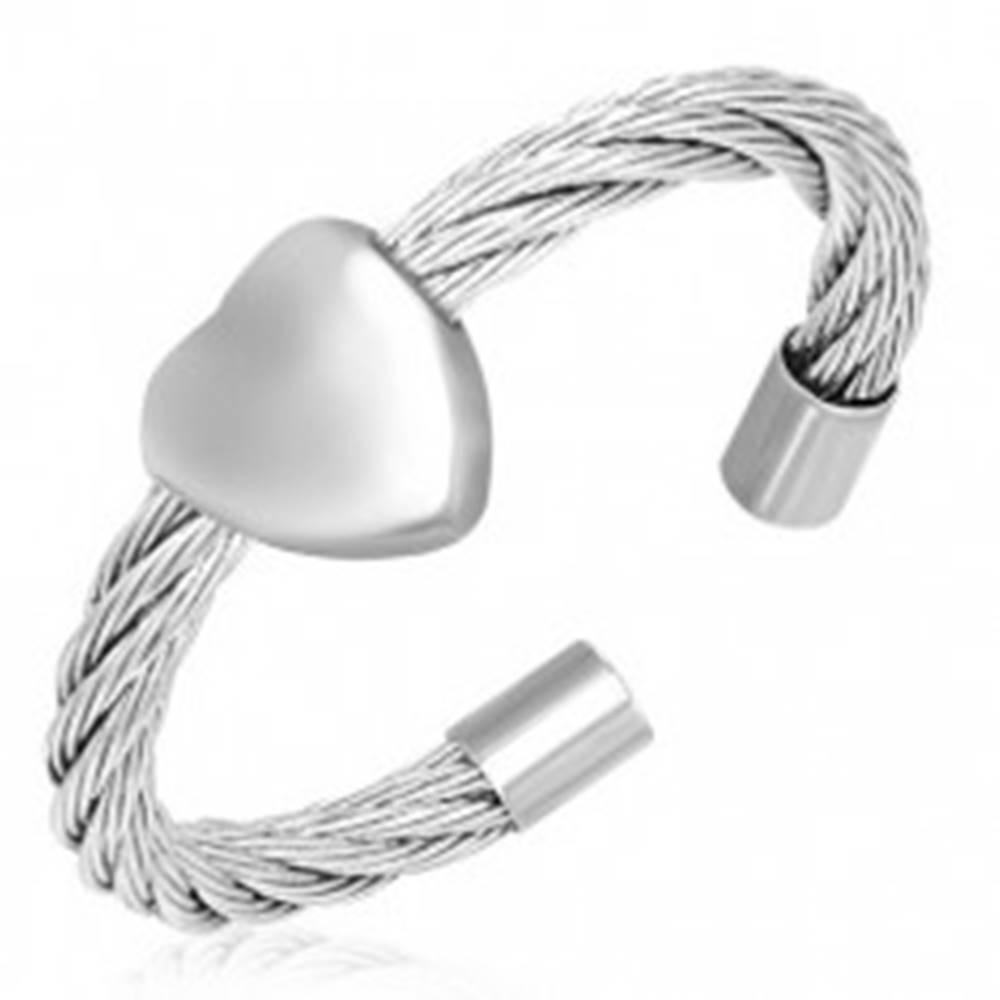 Šperky eshop Prsteň so srdcom - točený oceľový drôt - Veľkosť: 55 mm