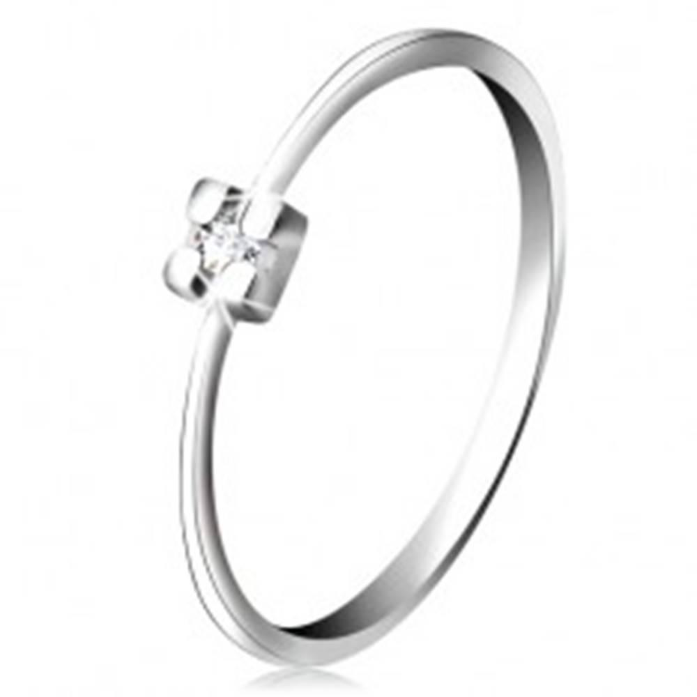 Šperky eshop Prsteň v bielom 14K zlate - diamant čírej farby v hranatom kotlíku - Veľkosť: 49 mm