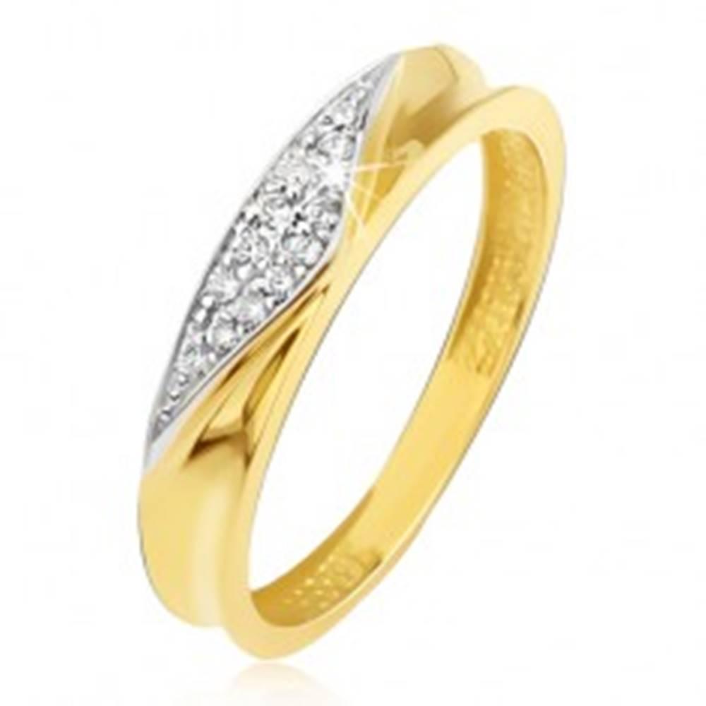 Šperky eshop Prsteň v žltom 14K zlate - obrúčka s vyhĺbeným stredom, zirkónový trojuholník - Veľkosť: 49 mm