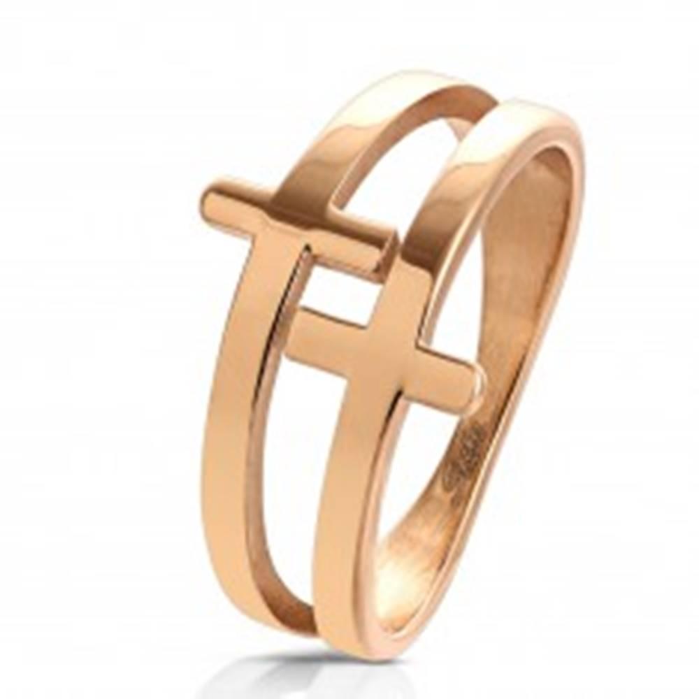 Šperky eshop Prsteň z chirurgickej ocele medenej farby, lesklý zdvojený kríž - Veľkosť: 52 mm