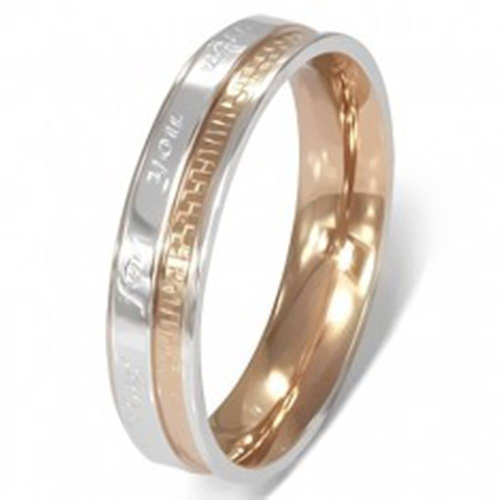 Šperky eshop Prsteň z chirurgickej ocele - romantický nápis, dvojfarebný - Veľkosť: 49 mm