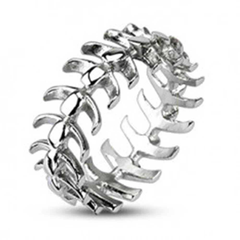 Šperky eshop Prsteň z chirurgickej ocele s motívom stavcov - Veľkosť: 59 mm