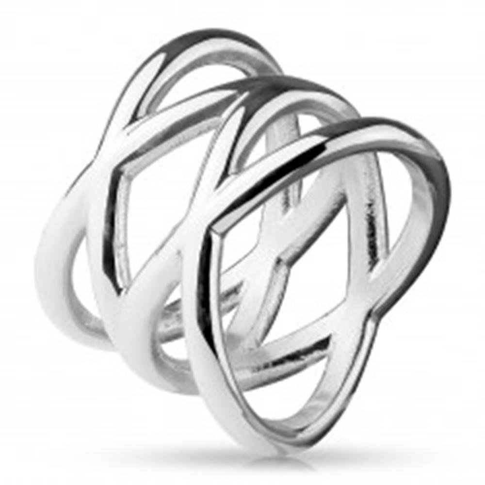 Šperky eshop Prsteň z ocele 316L, lesklá strieborná farba, rozvetvené ramená - Veľkosť: 48 mm