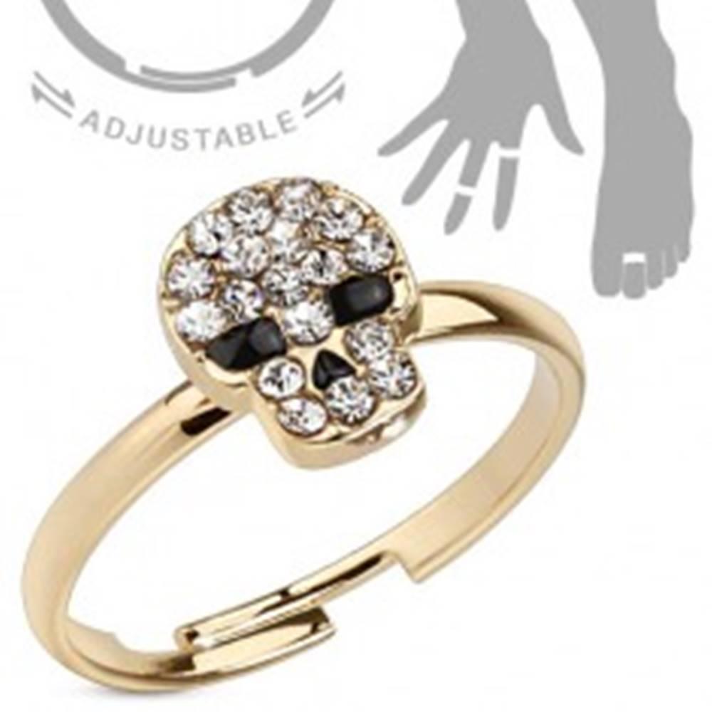 Šperky eshop Prsteň zlatej farby na ruku a nohu, lebka - číre zirkóny, čierne oči a nos - Veľkosť: 51 mm