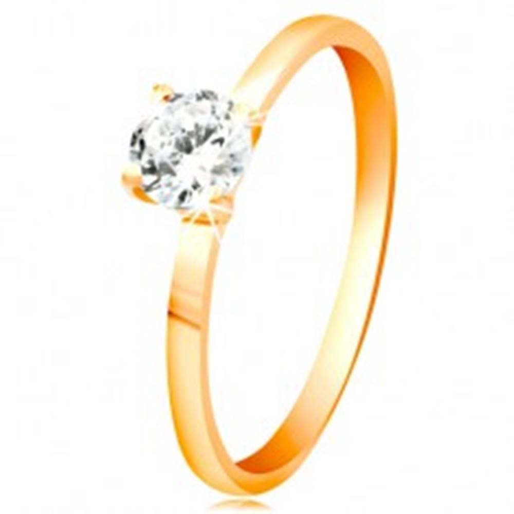 Šperky eshop Prsteň zo žltého 14K zlata - žiarivý číry zirkón v lesklom vyvýšenom kotlíku - Veľkosť: 49 mm