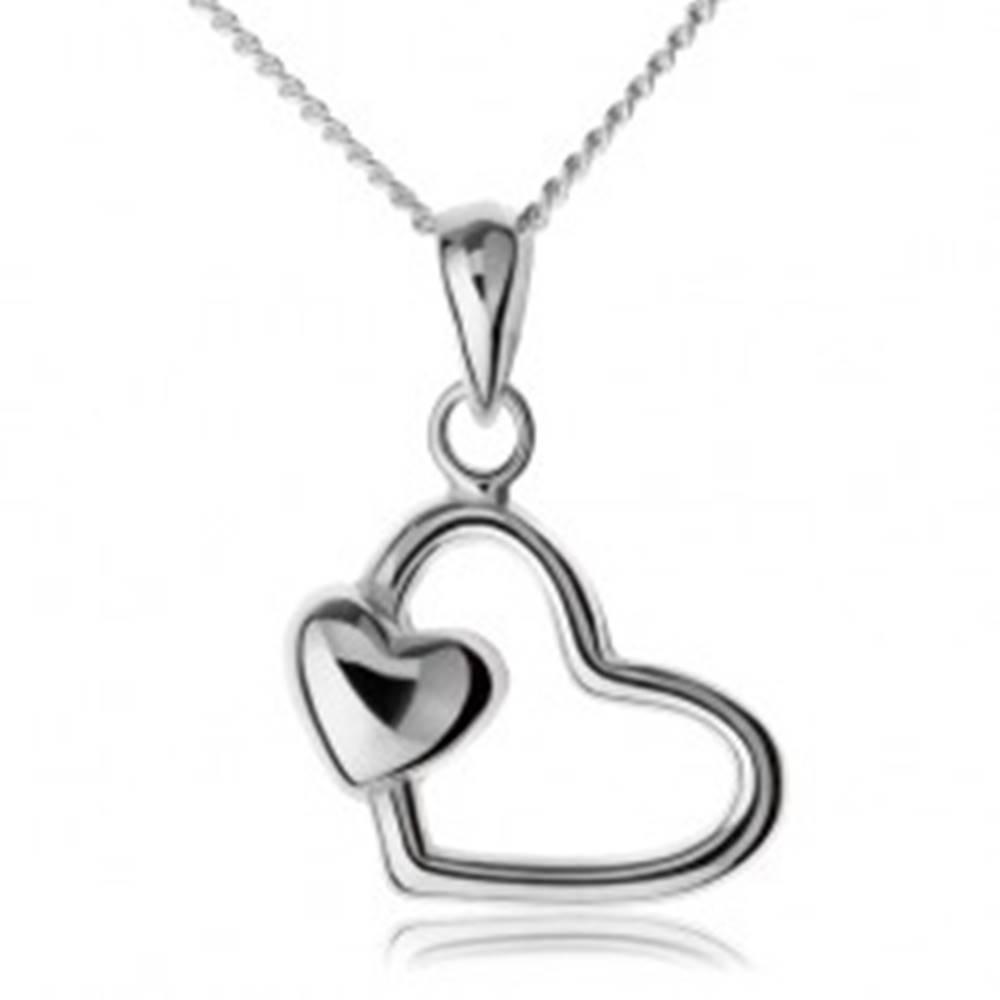 Šperky eshop Retiazka s príveskom, striebro 925, kontúra srdca s malým srdiečkom