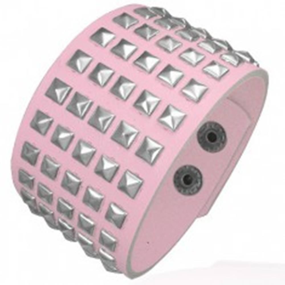 Šperky eshop Ružový koženkový náramok - kovové pyramídy
