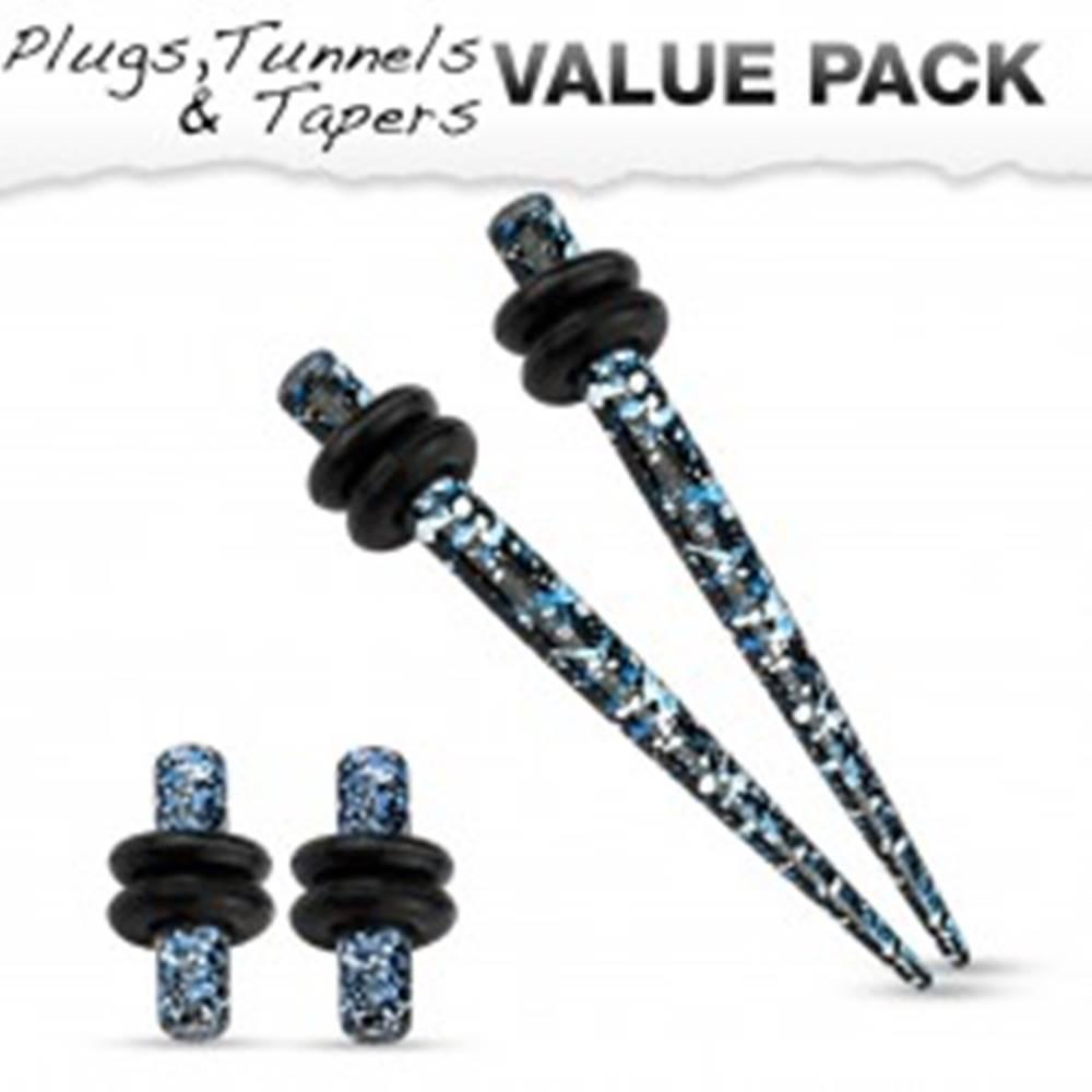 Šperky eshop Sada štyroch oceľových piercingov do ucha, modrá, čierna a biela farba - Hrúbka: 1,6 mm
