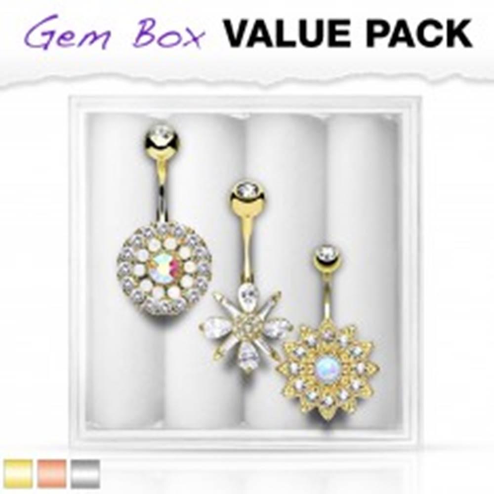 Šperky eshop Set troch piercingov do brucha, oceľ 316L, vsadené zirkóny a syntetické opály - Farba piercing: Medená